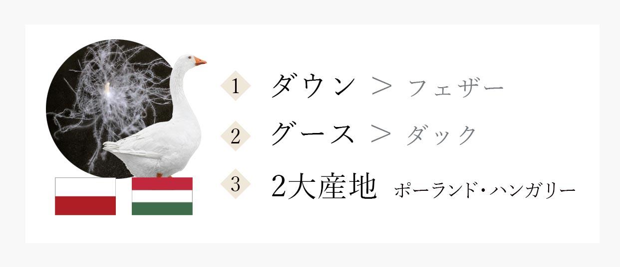 羽毛製品を選ぶ時の大切なポイント