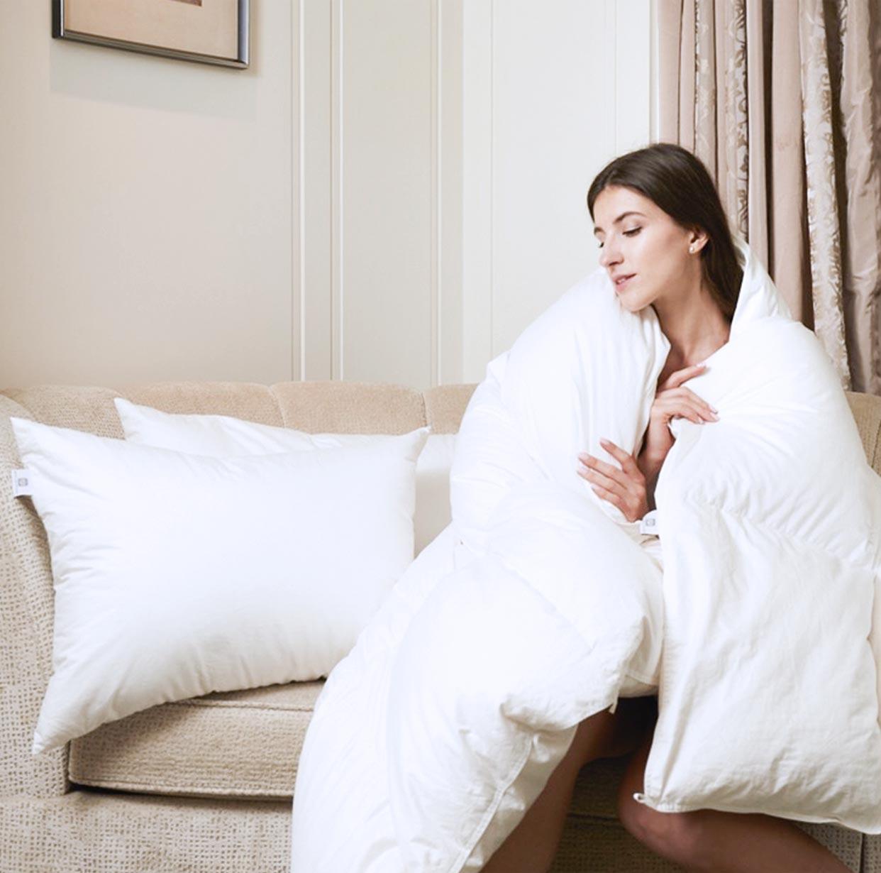 羽毛布団の縫製も丁寧 ホテルライクインテリアの羽毛布団