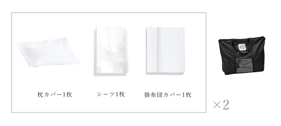 1セットは「シーツ、掛け布団カバー、枕カバーが各1枚」